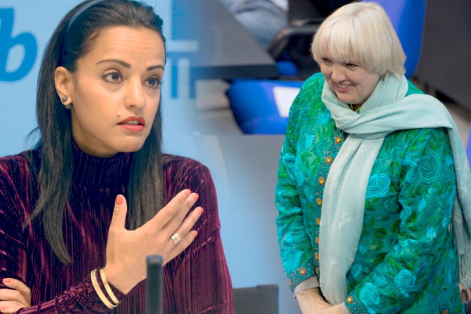 Auch Sawsan Chebli (SPD, l.) und Bundestagsvizepräsidentin Claudia Roth (Grüne) bekamen Drohmails.