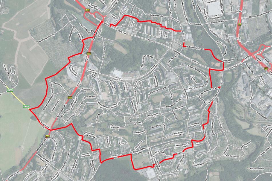 Eine Karte der Stadt Chemnitz zeigt den ungefähren Evakuierungsbereich.