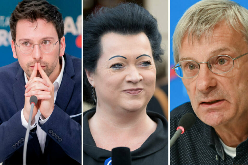 Dennis Hohloch (31, l.), Birgit Bessin (42) und Hans-Christoph Berndt (64) stellen sich am Dienstag bei der Kampfabstimmung für den Fraktionsvorsitz der AfD in Brandenburg zur Wahl.