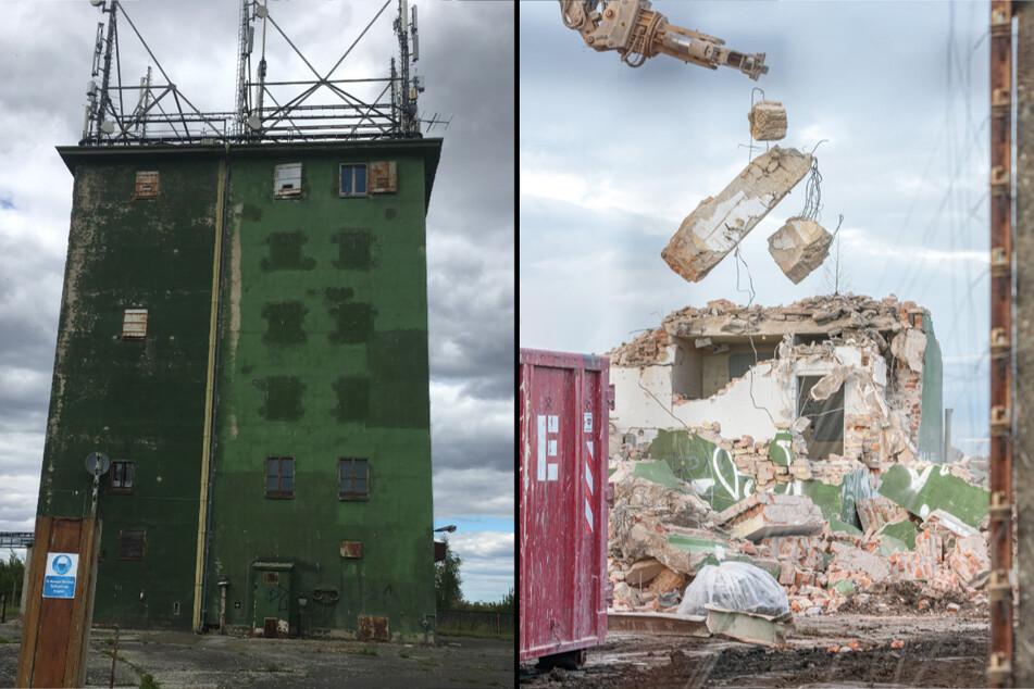 """Mit dem """"Grünen Turm"""" verschwindet ein Stück Zeitgeschichte. Bis Ende Februar soll der Abriss beendet sein."""