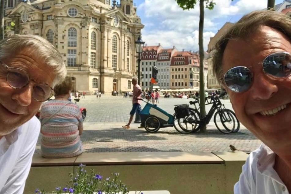 Erwischt! Schlager-Star Patrick Lindner schlemmt auf dem Neumarkt in Dresden