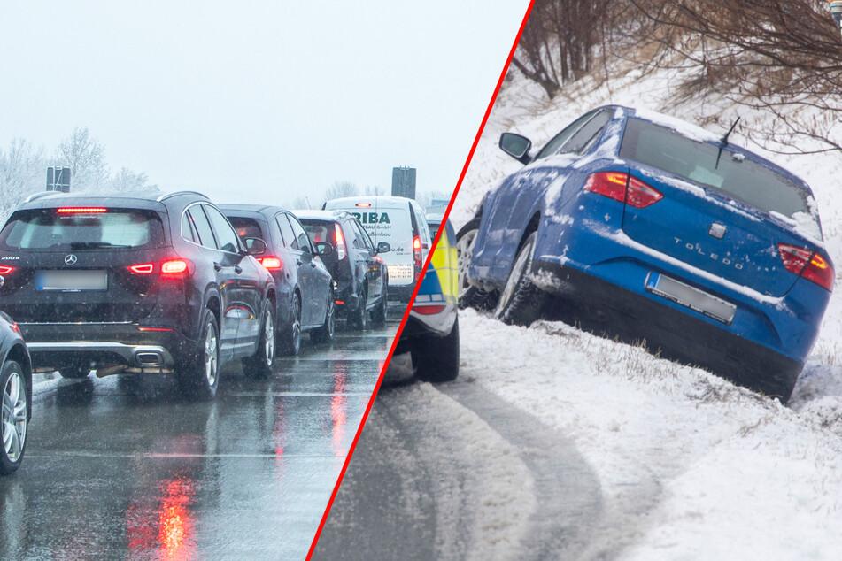 Erneuter Wintereinbruch sorgt in Sachsen für Unfälle und Stau