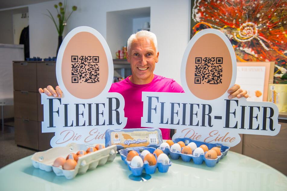 Kay Harzbecker aus Neukirchen gehört zu den Erfindern der Fleier-Eier.