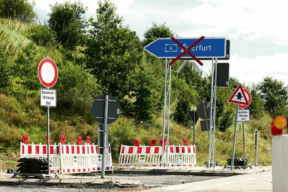 Die A4-Baustelle bei Meerane - hier werden die Fahrbahnen erneuert.