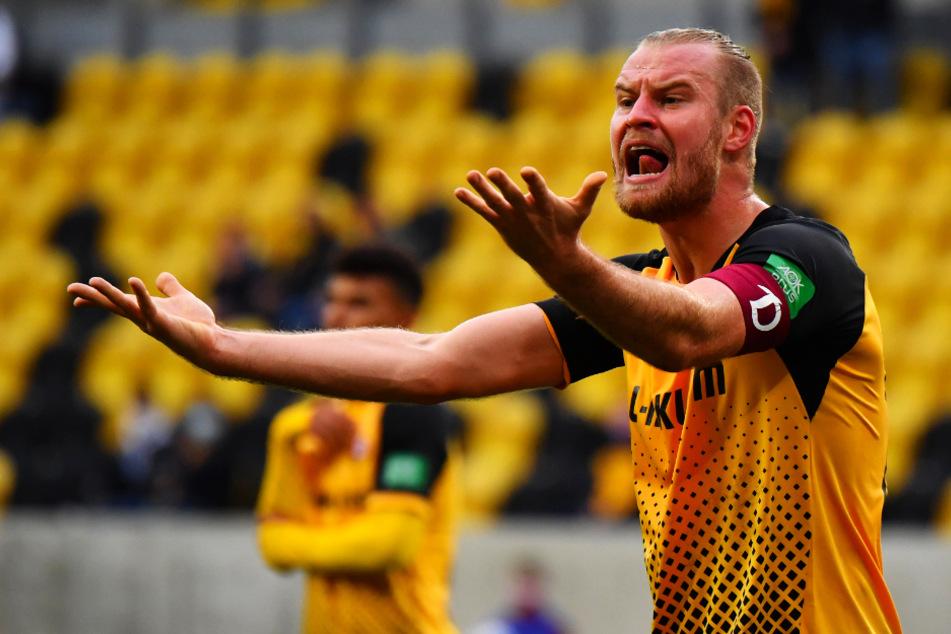 Dynamo-Kapitän Sebastian Mai (26) steht für die Partie in Rostock noch auf der Kippe.
