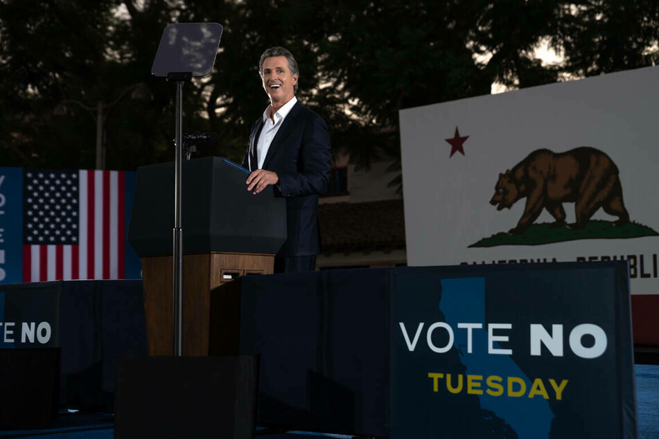 """California Governor Gavin Newsom asked voters to vote """"no"""" in the recall election during a speech on Monday."""
