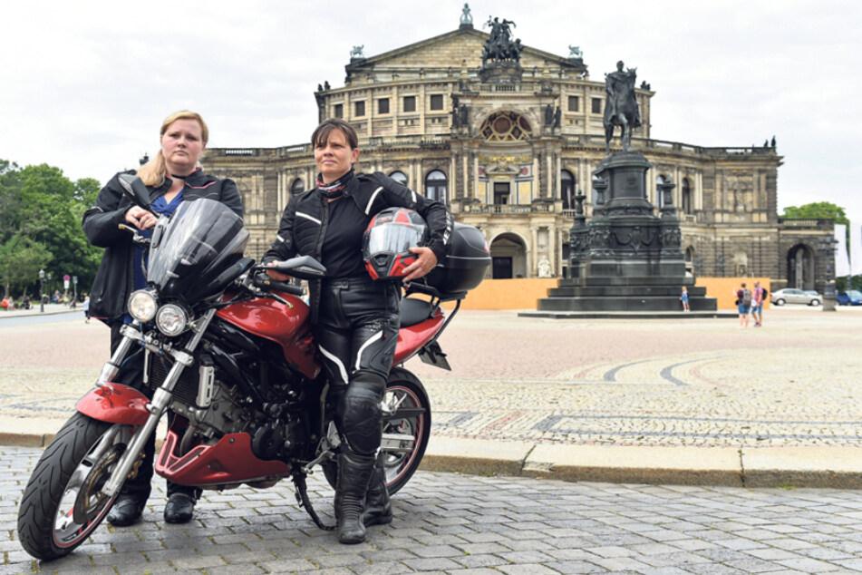 Mona Brendel-Salomo (50) und Tochter Sarah Brendel (30) organisieren den Biker-Protest in Dresden.