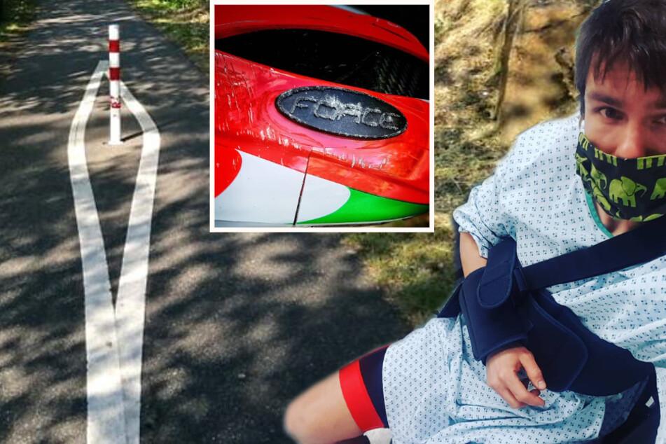 Sächsischer Radrennfahrer knallt gegen Eisenpfahl, zerstörter Helm rettet ihm wohl das Leben