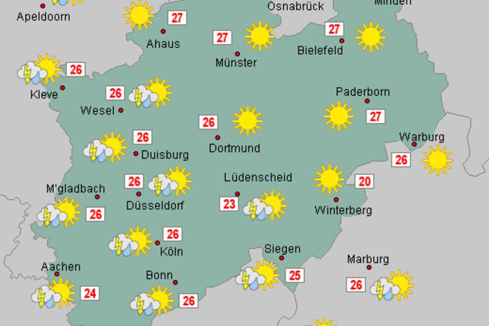 Trotz des wechselhaften Wetters bleibt es in Nordrhein-Westfalen die nächsten Tage weiterhin spätsommerlich warm.