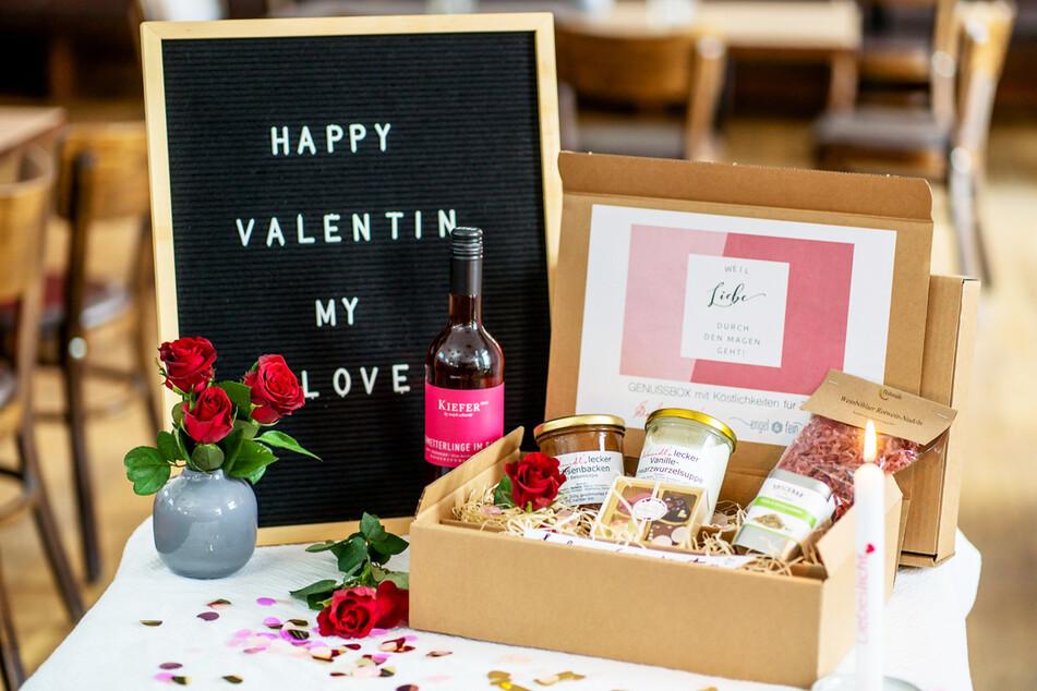"""Die Valentinsbox von """"Engel&fein"""" enthält regionale Produkte, aus denen sich schnell ein Menü zaubern lässt."""