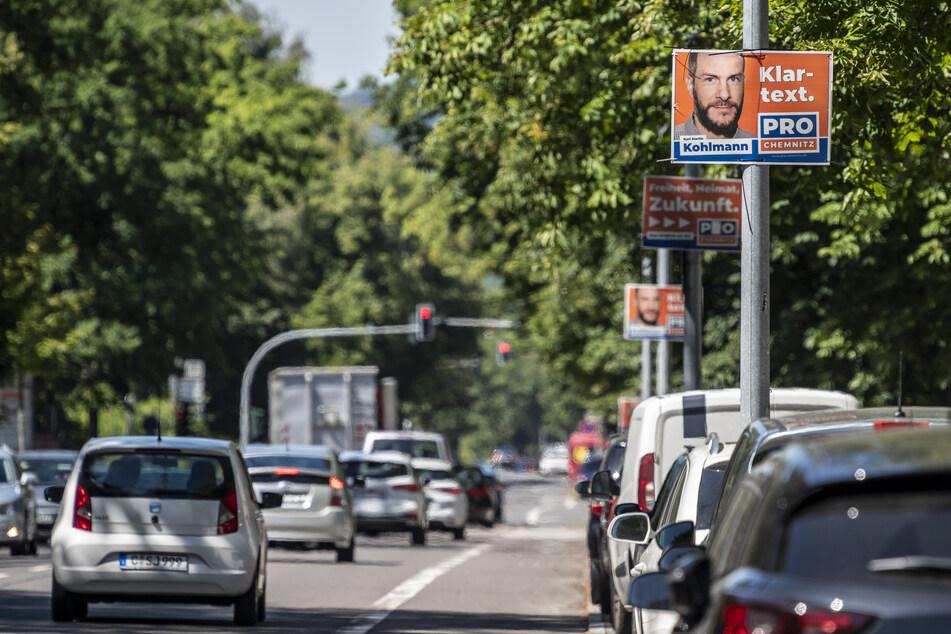 Pro Chemnitz hängte seine Plakate zu früh auf (hier: Zschopauer Straße). Die Stadt stellte ein Ultimatum.