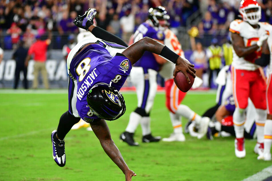 Ravens quarterback Lamar Jackson was responsible for three of his team's four touchdowns in their Sunday night win over Chiefs.