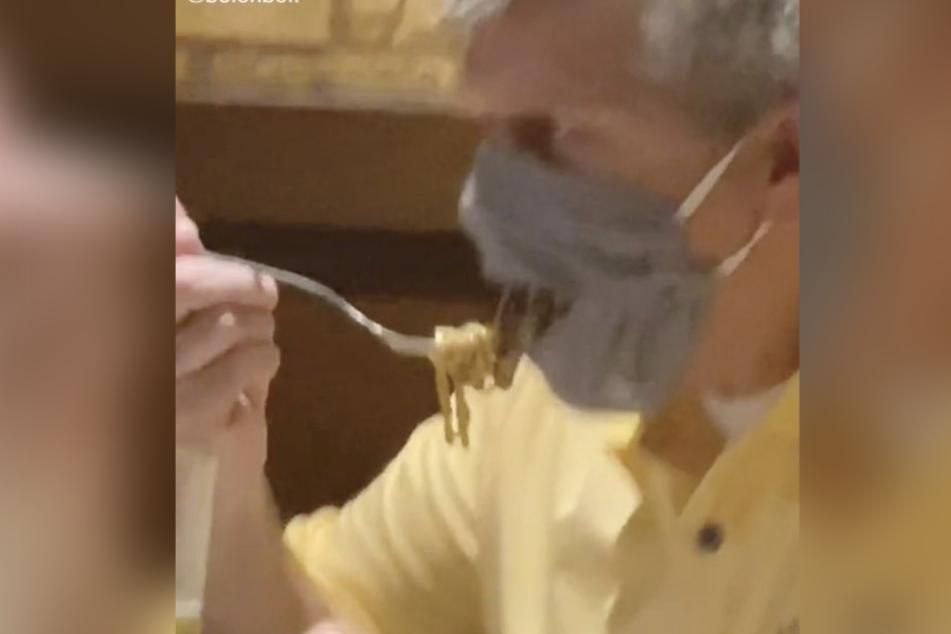 Ihr Mann wirkt beim Spaghetti Essen deutlich geübter.