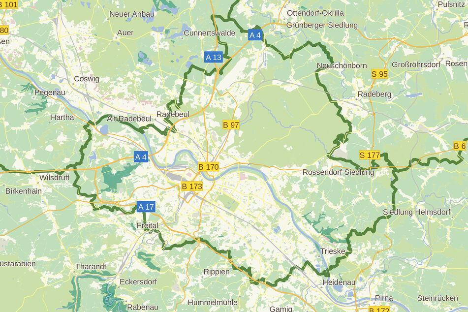 """Die Grenzen der Landeshauptstadt sind in Natura unsichtbar. Erst auf Karten wird das über 139 Kilometer lange """"Band"""" sichtbar."""