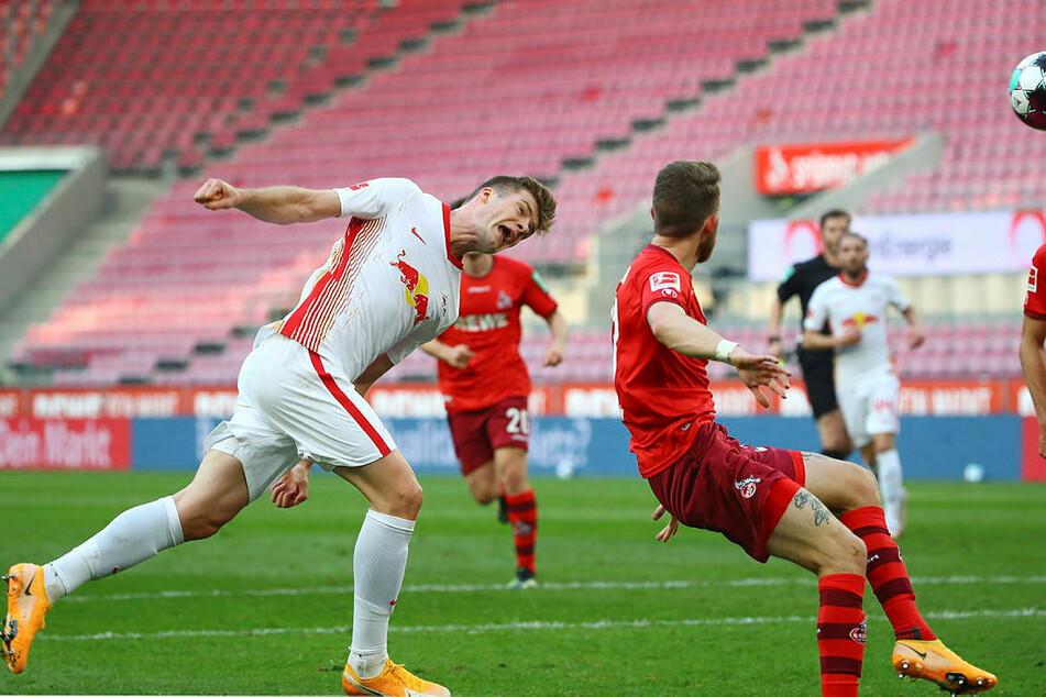RB Leipzigs Alexander Sörloth (l.) hatte zwei sehr gute Kopfballchancen zur Führung gegen den 1. FC Köln.