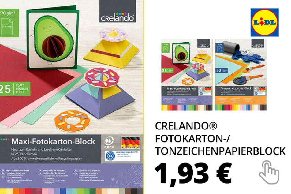 CRELANDO® Fotokarton-/ Tonzeichenpapierblock