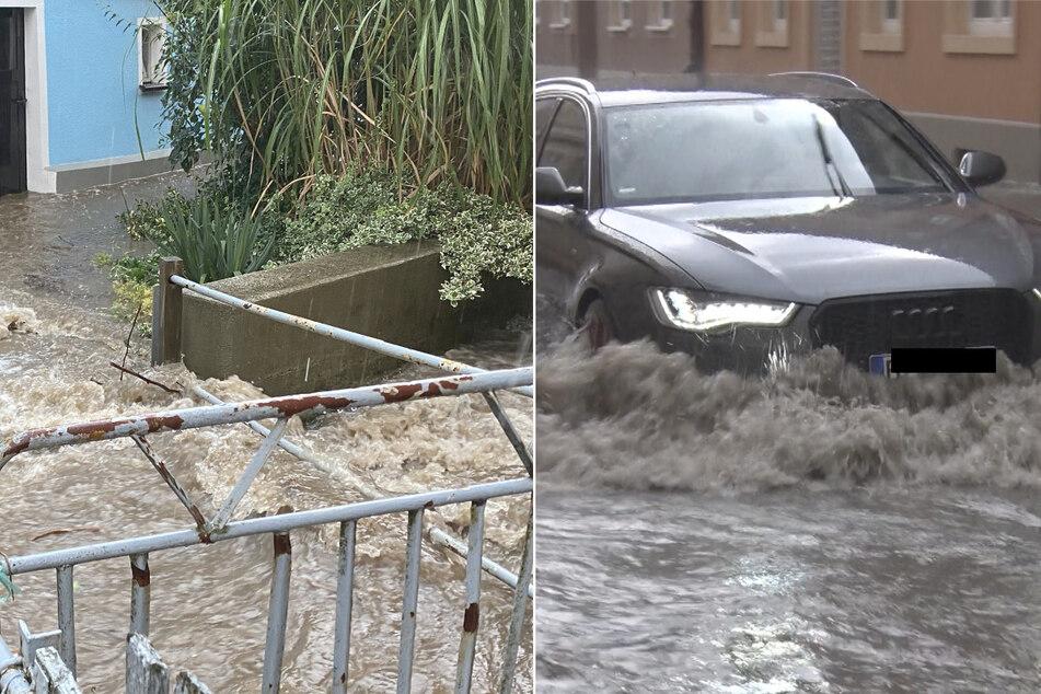 Unwetter in Sachsen: Straßen überflutet, Keller unter Wasser