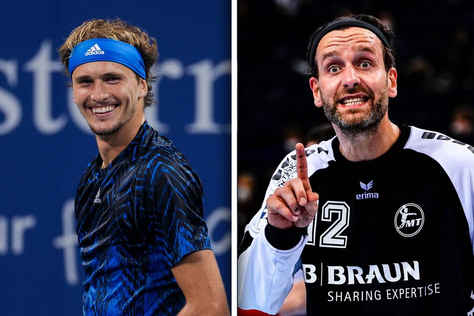 Duellieren sich am 18. September: Tennis-Olympiasieger Alexander Zverev (24, l.) und Handballtorhüter Silvio Heinevetter (36).