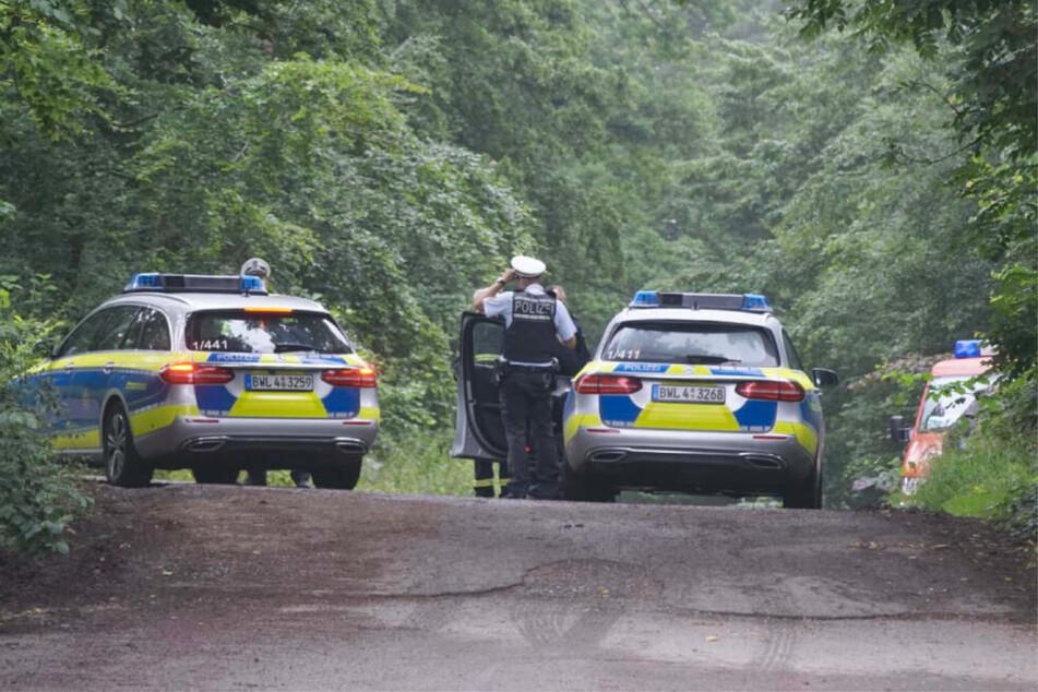 Einsatzkräfte am Samstag in einem Waldstück bei Steinenbronn. Ein Kleinflugzeug war hier abgestürzt.