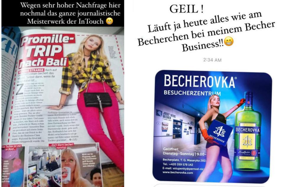"""Links der Stein des Anstoßes, ein Artikel in einem bekannten Gossip-Magazin; rechts ein fiktives Werbeplakat, das Bonnie Strange als Werbeträgerin für """"Becherovka"""" zeigt."""