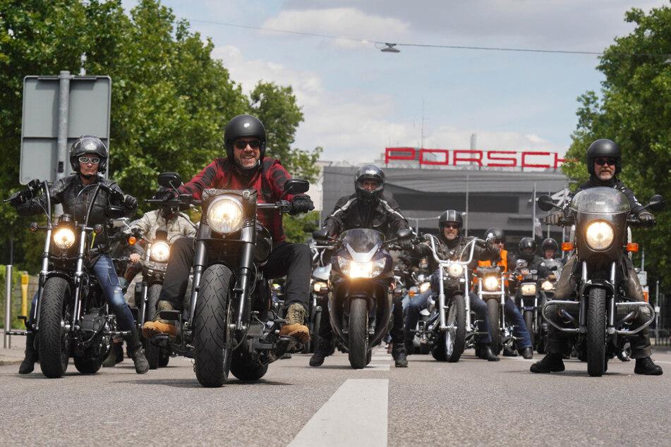 Biker-Demonstranten am Samstag in Stuttgart.