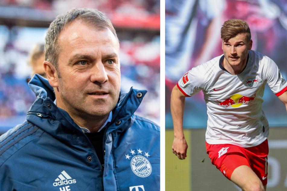 """Hansi Flick (l.) spricht von einer """"sehr guten Verpflichtung"""", die Chelsea mit Timo Werner (24) getätigt hat."""