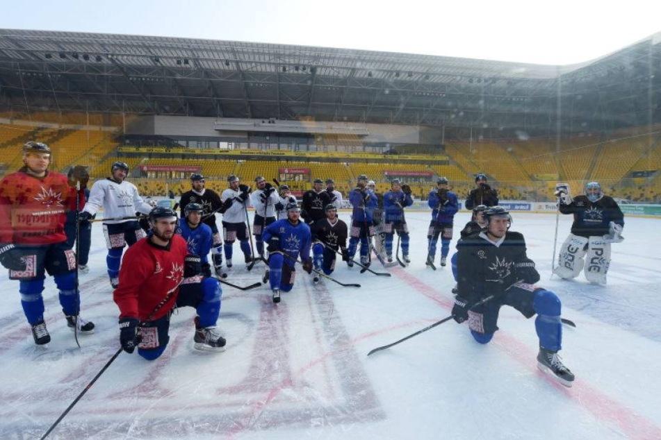 Eis-Training im Stadion macht Lust auf das Derby