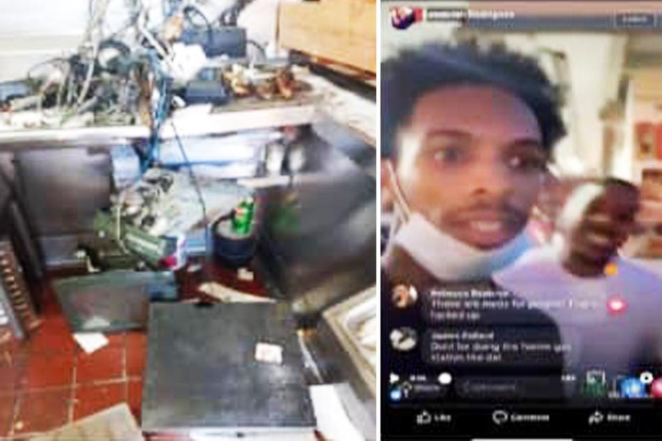 Typ streamt live, wie er in Tankstelle und Restaurant plündert