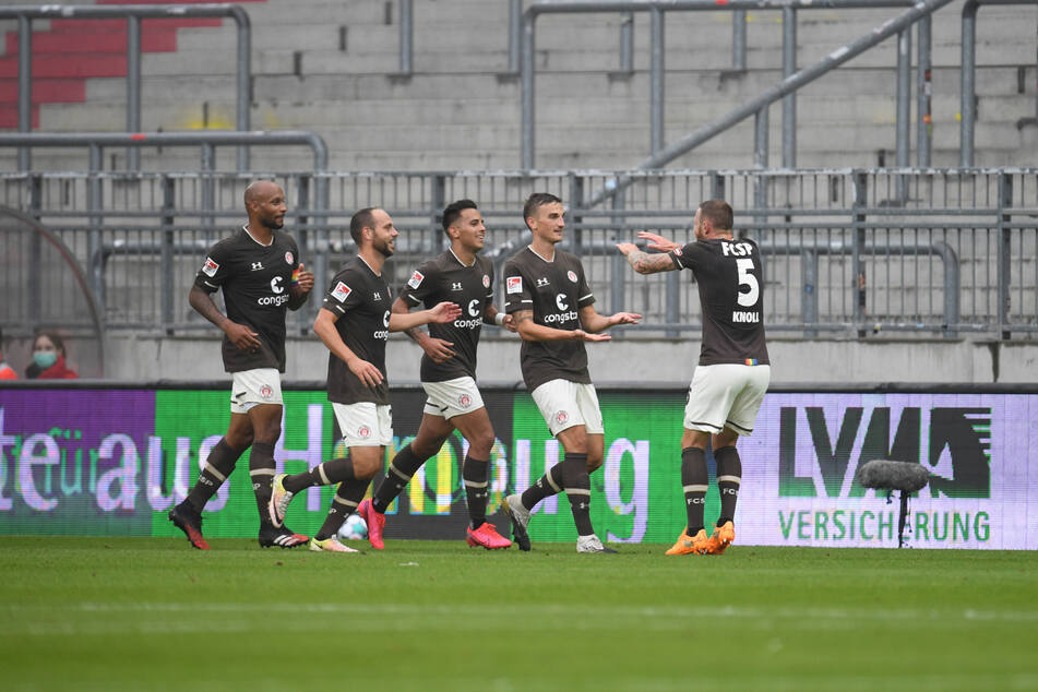 Die Spieler des FC St. Pauli hatten gegen den 1. FC Heidenheim viel Grund zum Jubel.