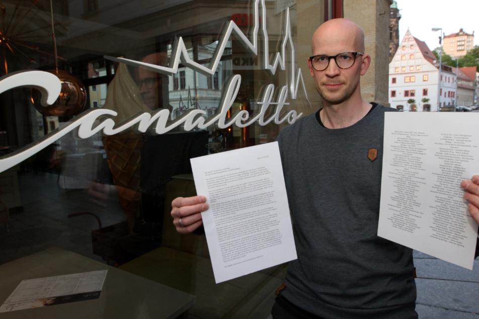 Gastwirt Marcus Galle (35), Inhaber des Café Canaletto in Pirna.