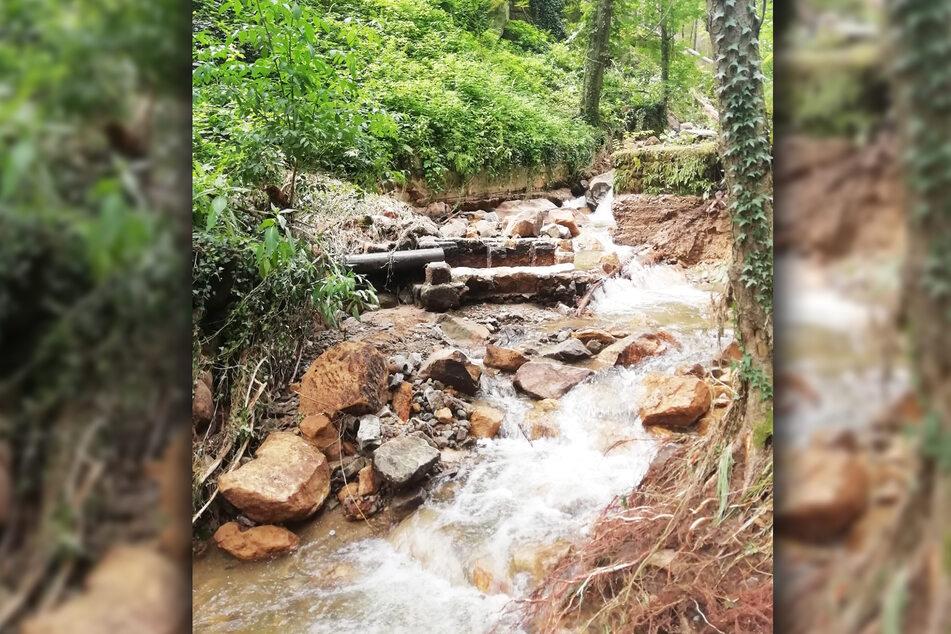 Starkregen hat den berühmten Lichtenhainer Wasserfall im Juli zerstört.