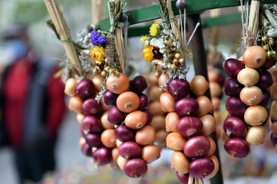 Ein wenig Normalität in schwierigen Zeiten: Die beliebten Zwiebelzöpfe sind an einem Marktstand des 367. Weimarer Zwiebelmarkts zu sehen.