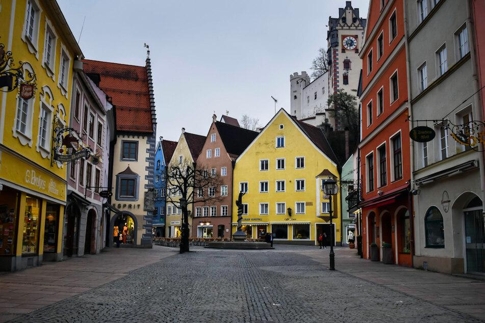 Die Innenstadt von Füssen in Oberbayern.
