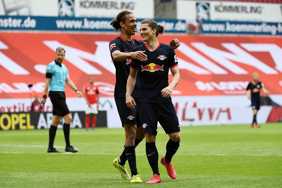 Yussuf Poulsen (l.) und Marcel Sabitzer fiebern der neuen Bundesliga-Saison entgegen.