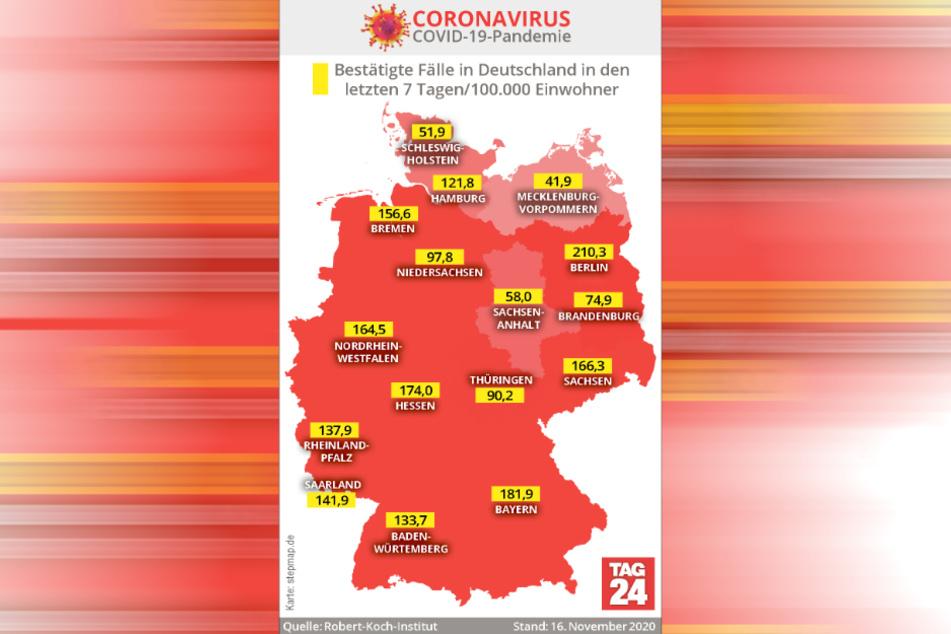 Ein Land sieht rot: Die bestätigten Fälle in Deutschland in den letzten sieben Tagen pro 100.000 Einwohner.