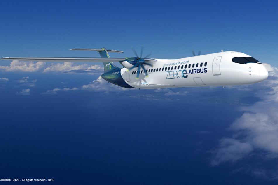 Bis zu 100 Passagiere könnten in diesem Propeller-Flugzeug (Turboprop-Design) von Airbus sitzen. Es eignet sich eher für kürzere Distanzen.