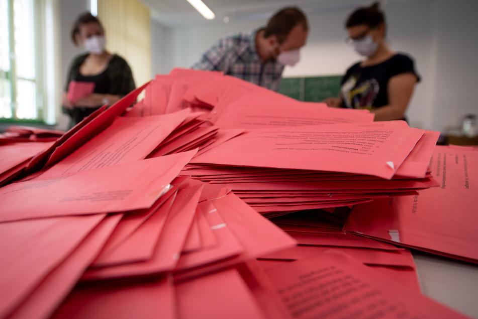 Wahlhelfer beim Auszählen der Briefwahl in Sachsen-Anhalt werten die Stimmen nach einer Schulung aus und werden dabei überwacht.