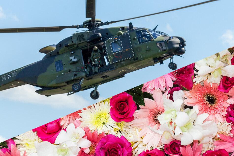 Bundeswehr-Hubschrauber im Tiefflug bringt Blumen für die Verlobte