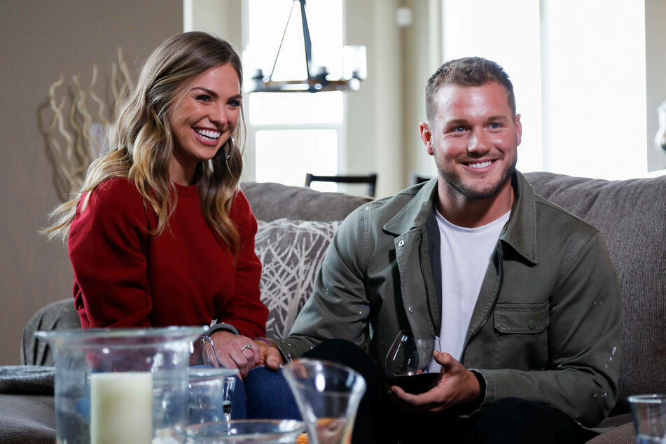 Cassie Randolph sits with Colton Underwood on an episode of The Bachelor during season 23.