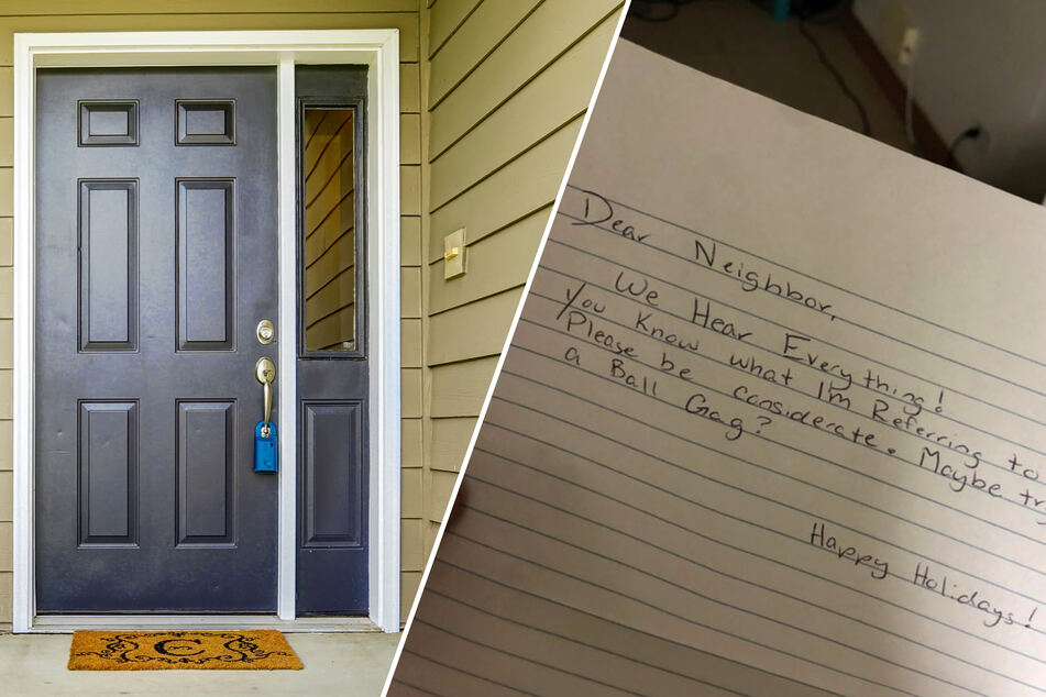 This embarrassing note was taped to the front door (collage).
