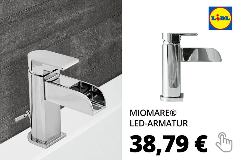 MIOMARE® LED-Armatur, mit Wasserfall-Auslauf u. Farbwechsel