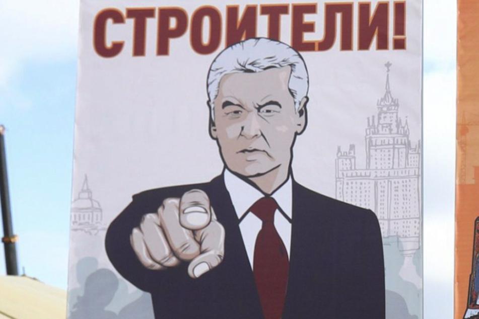 Zeichnung von Moskaus Bürgermeister Sergej Sobjanin.