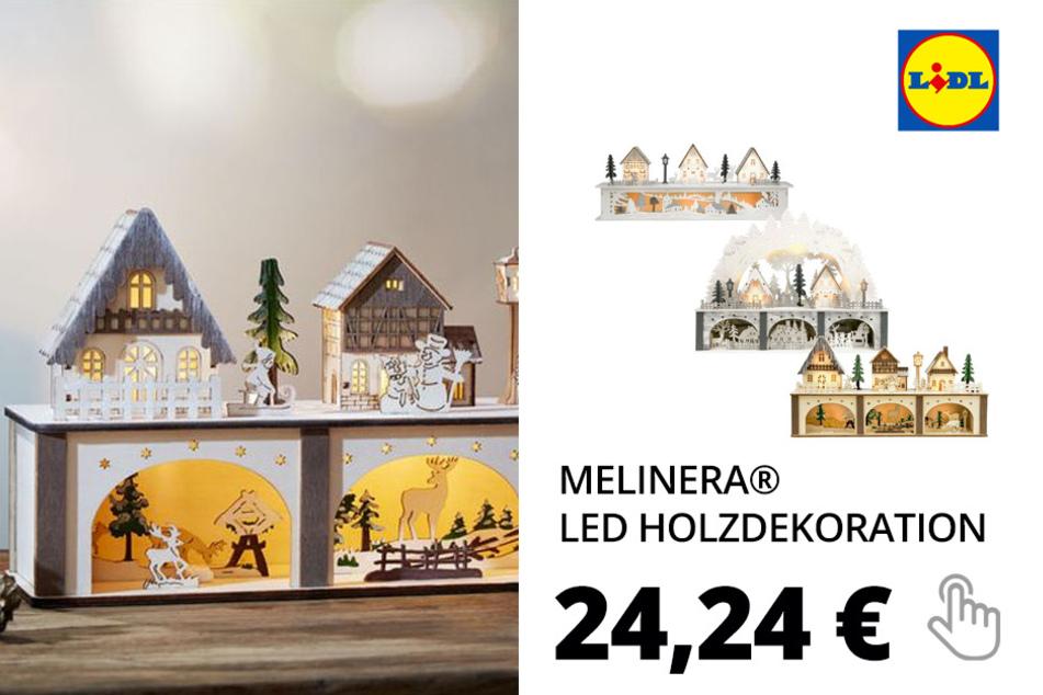 MELINERA® LED Holzdekoration Weihnachtsdorf– Nur online!