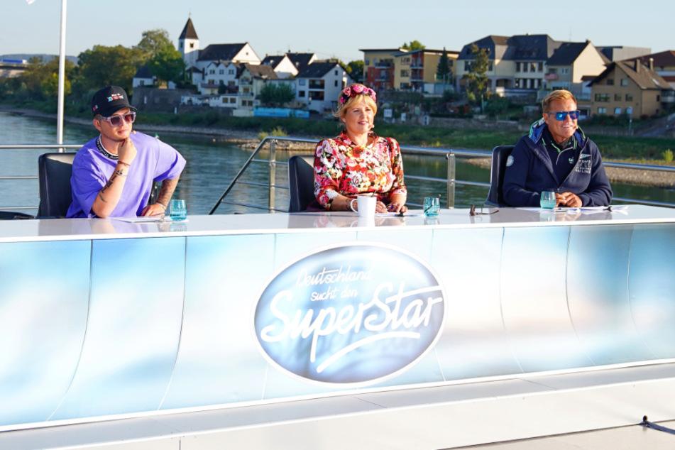 Die DSDS-Jury mit Mike Singer (l-r), Maite Kelly und Dieter Bohlen.