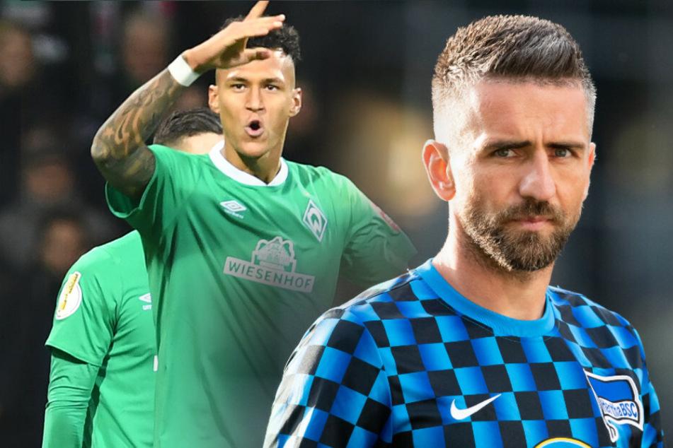 Davie Selke (l.) kämpft mit Werder Bremen um den Klassenerhalt. Die Zukunft von Vedad Ibisevic (36) bei Hertha BSC ist weiter unklar.