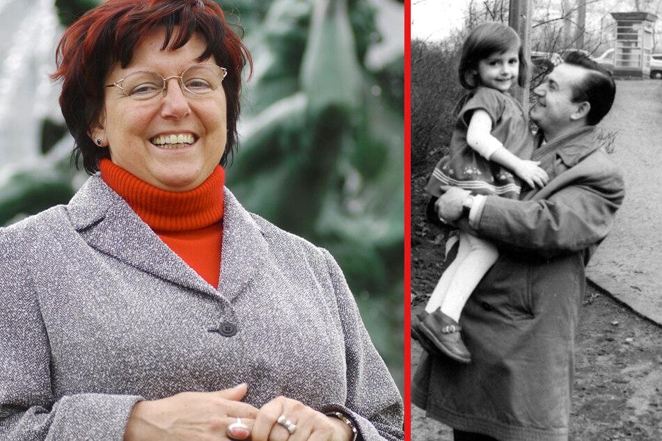 Sammelt alles über ihren berühmten Vater: Petra Horn (65) ist die uneheliche Tochter des Komikers. Klein-Petra - hier im Alter von knapp drei Jahren - wird von ihrem Vater durch den Leipziger Clara-Zetkin-Park getragen.