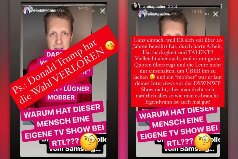 Amira Pocher (28) verteidigt ihren Mann gegen die Anschuldigungen von Michael Wenlder (48). (Fotomontage)