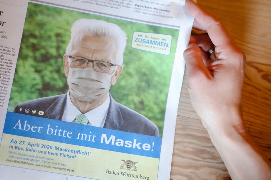 """""""Aber bitte mit Maske"""": Auch der Landesvater trägt Mund-Nasen-Schutz."""