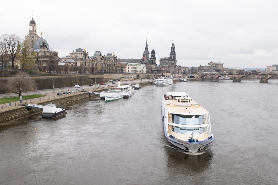"""Das Salonschiff """"Gräfin Cosel"""" der Sächsischen Dampfschifffahrt GmbH (SDS) fährt vor der Kulisse der Altstadt auf der Elbe. Insgesamt zwei Schiffe der Flotte der Sächsischen Dampfschifffahrt werden vorübergehend als öffentliche Verkehrsmittel zwischen Dresden und Pillnitz eingesetzt."""