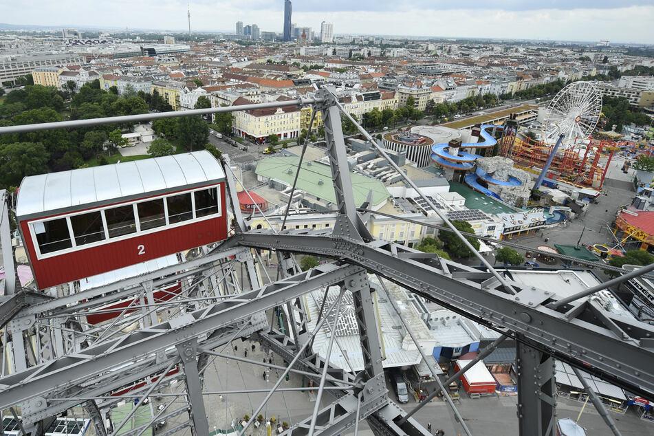 Blick vom Riesenrad über den Wiener Prater.